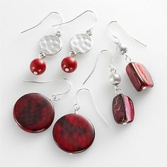 SONOMA life + style Silver Tone Hammered and Snakeskin Disc Drop Earring Set - Here are the matching snakeskin earrings.