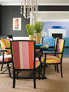 Hey that's my dining room wall color. Great big fun chairs. dining rooms, chalkboard walls, dine room, dark gray, chair fabric, wall color, dining chairs, grey wall, gray walls