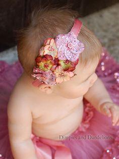 Love!! Vintage Shimmer Pink Satin Hard Headband