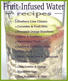 Fruit-Infused Water Recipes -- Men should consume 3.7 liters of water per day, while women need approximately 2.7 liters. Make it easier, and tastier, by infusing your water with these refreshing combinations!