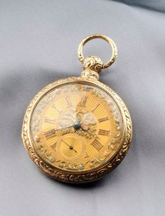Antique 18kt Tricolor Gold Pair Case Open Face Pocket Watch, Joseph Johnson, Liverpool, the goldtone dial with Roman numeral indicator, subsidiary seconds dial, applied tricolor floral and foliate motifs, enclosing signed fusee movement no. 6493, within London case with engraved foliate edges with letter date 1801, two keys, 56 mm.