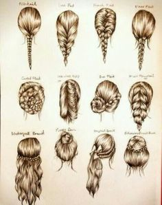 "braid styles. the second from the left on top looks like Elsa's from Disney's ""Frozen"""