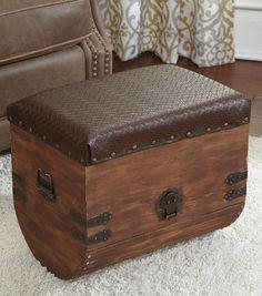 #Upcycle ottoman with a treasure box from Joann.com | #DIY Home Decor
