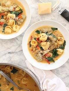 Creamy Tortellini Soup with Artichokes and Garbanzo Beans