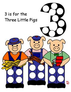 3 Little Pigs magnet page from MakingLearningFun
