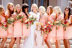 Peach Bridesmaids Dresses -- See more of the wedding on #smp here: http://www.StyleMePretty.com/2014/04/11/bright-spring-dana-point-harbor-wedding/ Photography: AshleeRaubach.com -- SweetCarolinesFloralDesign.com