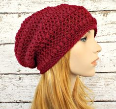Penelope Puff Stitch Slouchy Beanie Hat in Burgundy Wine Red