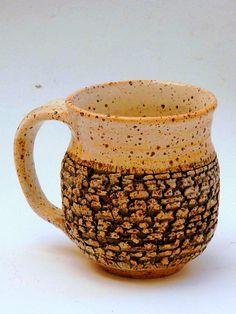 M.Wein Texrured Stoneware cup Shino glaze