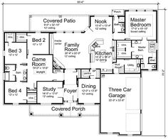 I LOVE this floor plan. Modify bedrooms on the left to two bedrooms with a j bathroom and eliminate the gameroom area. Create pass thru from utility to closet. Close off pantry pass thru for large pantry. Eliminate rear bathroom for large dining room. Dining room is study. Study is playroom. Bring down total sq ft. Eliminate 1 garage bay. House Plans by Korel Home Designs dining rooms, game room, floor plan two bedroom, home design plans, hous plan, big house floor plans, dream houses, floor plan with playroom, house plans