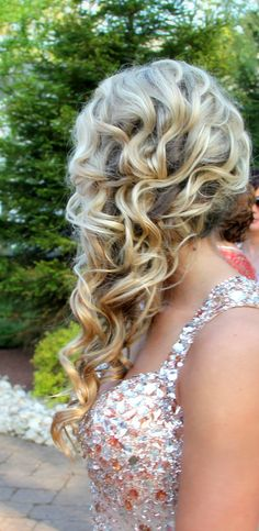 dance hair, curled hair prom, prom hair curls, prom curls, curled prom hairstyles, homecoming hair, prom hair curled, hair prom styles, curly hair