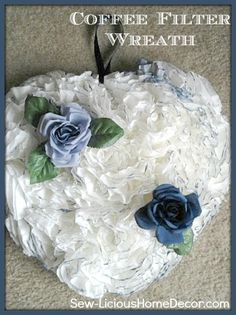 Sew-licious Home Decor: Coffee Filter Wreath Tutorial {wreaths}