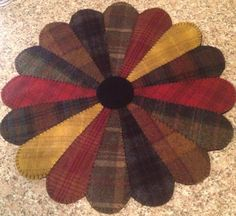 Primitive Wool Penny Rugs Dresden Plate by MaggysPennies on Etsy, $65.00