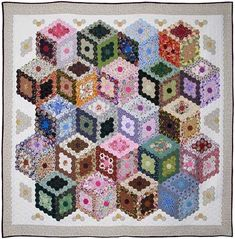 Carol Mahoney - 'Diamonds are Forever', 2008 Auckland Patchworkers and Quilters Guild.  Hexagons were arranged to form tumbling blocks.