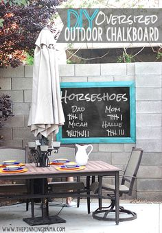 Perfect for families that love to play games!  This outdoor chalkboard is super easy to make!