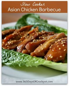 Recipe for Crock Pot Asian Chicken Barbecue...this recipe is so simple but seriously restaurant quality!  Serve it as an appetizer or as the...