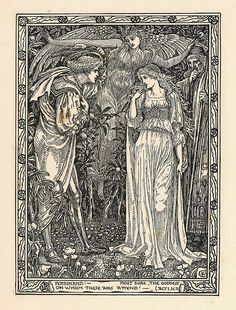 Ferdinand. Act 1. Scene II. Shakespeare's The Tempest, limited edition illustrations by Walter Crane, 1893