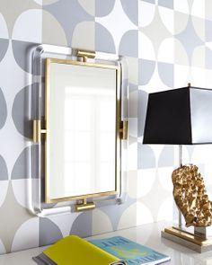 Jonathan Adler Lucite and brass mirror.