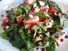 Spinach & Strawberry Salad with Blackberry Dressing.