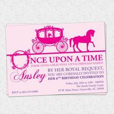 Princess Birthday Party Invitation, Printable, Girl, Horse Drawn Carriage, Cinderella Inspired,