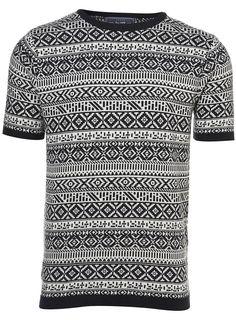 Topman Navy Pattern Knitted T-shirt