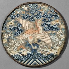 One of Two Kesi Circular Rank Badges, Buzi, China, Qing Dynasty (1644-1912)