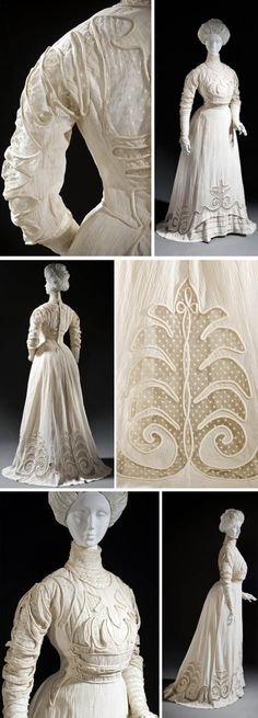 Dress, Europe, circa 1908. Cotton crepe and cotton net with cotton embroidery. via Los Angeles County Museum of Art.