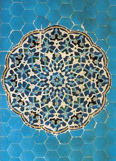 mosaic in various shades of blue...lovely!    Chapter 2. Islamic Persia - Mud, Brick, and Turquoise: The Architecture of Persiaplate 142.  Details of a decorative ceramic mosaic panel, Congregational Mosque, Yazd, c. 1375