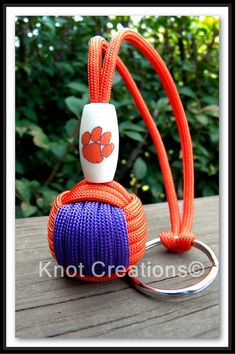Clemson Tigers Paracord Monkey Fist Keychain by knotcreations, $15.00
