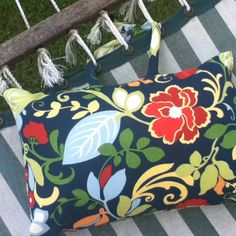 Hammock pillow made with outdoor fabric and pillow insert. Ties to hammock.