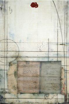 Memoire ~ Encaustic and silk on panel ~ by Lisa Bick