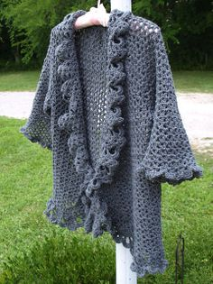 Ravelry: crochetster's Oxford Grey Cardigan  - a large version of Doris Chan's free lacy jacket! (link to the pattern)