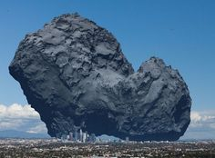 In this delightful portrayal of Comet 67P/Churyumov-Gerasimenko, we see the 2.5-mile-wide object close to true color with downtown Los Angeles, Calif. for size reference. Compare to the same image (below) as viewed from space. Despite appearances in photos,  comets are coal-black objects. Credit: ESA and anosmicovni