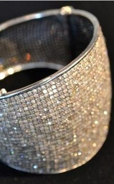 RONA PFEIFFER  Rona Pfeiffer Wide Pave Bangle-31.86 karats of diamond, set in .925 oxidized silver | http://elizabeth-charles.com/rp230.html