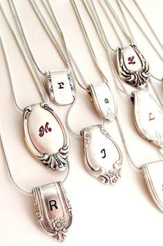 Silverware Personalized Necklace -  Cute gift for #Mothersday  ***Or someone's 35th birthday. Wink. Wink. Hint. Hint.