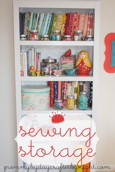 Sewing Storage Ideas from @Ashley Walters Walters Walters J... especially love the idea of using a super cute cookie jar for all my scissors and rotary cutter! Could get a second for my paint brushes!
