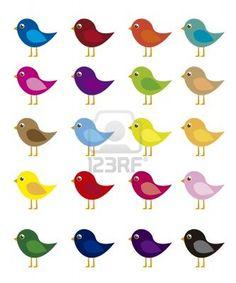dibujos animados pájaros de colores