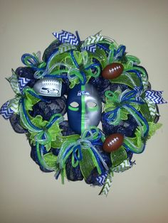 Seattle Seahawks Deco Mesh Wreath by tinasdecomeshwreaths on Etsy, $85.00