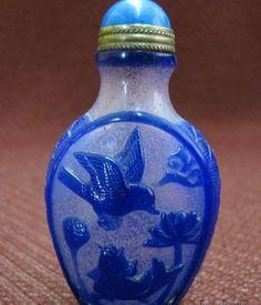Chinese Blue Peking Glass Snuff Bottle, Bird & Fish & Lamb, Lotus