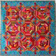 'Pineapple Pie' by Marta Amundson.  Kaffe Fassett fabric inspiration.