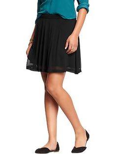 Womens Pleated Crinkle-Chiffon Skirts