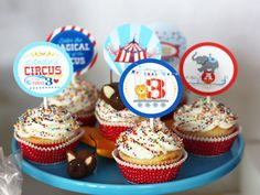 Cupcakes: Cupcakes were decorated simply with a large star tip and finished with colorful sprinkles and cupcake toppers.   Source: Wants and Wishes Design