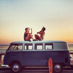 beaches, summer memories, bus, sunset, road trips, friendship, travel, vw vans, roads
