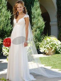 Vestidos de Novia Sencillos-Blanco con cuello en V vestidos de novia sencillos de cintura