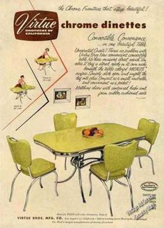 Virtue Brothers chrome dinettes, 1953