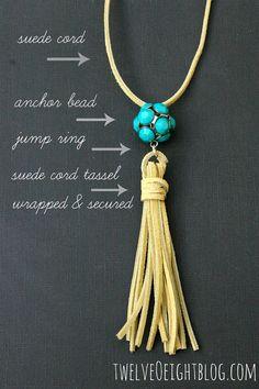 DIY Suede Tassel Necklace ❥ 4U // hf