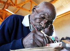 """In 2004, 84-year-old Kenyan KIMANI NGA MARUGE became the oldest primary school pupil in the world. He said that the government's announcement of universal and free elementary education in 2003 prompted him to enroll. A year later, he was elected head boy of his school. In September 2005, Maruge boarded a plane for the first time in his life, and headed to New York City to address the UN Millennium Development Summit on the importance of free primary education."""