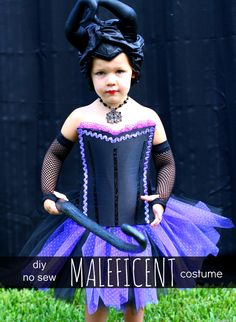 DIY No Sew Maleficent Costume for a Toddler. Super fun! PLUS - 80+ Homemade Costume Ideas! #Halloween #Costume_Ideas #Maleficent #Toddler