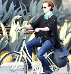 Evan Rachel Wood looking carefree in a crochet poncho