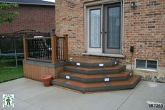Small, mid-height, single level deck. Enough room for a bbq.  Extend bottom step out as a lower level deck with pergola.