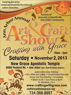 Michigan Craft Show -- Crafting with Grace -- Ann Arbor, Michigan        Find more Michigan Craft Shows at http://www.craftyshowsandfairs.com .. Sign up for our newsletter to get topics and Michigan craft shows in your inbox every week too!